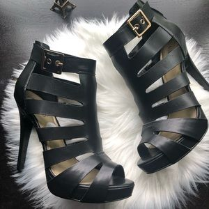 Summer Black women's Heeled boots with straps